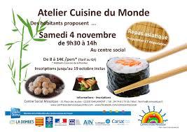 atelier cuisine centre social atelier cuisine du monde centre social mosaïque canton de chalamont