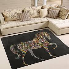 naanle regenbogen blumen paisley pferd teppich rutschfest für wohnzimmer esszimmer schlafzimmer küche 50 x 80 cm multi 120 x 160 cm 4 x 5