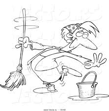 Download Housekeeper Coloring Page Clipart Book Clip Art Illustration Mop Drawing