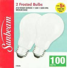 2 sunbeam 100 watt light bulbs incandescent