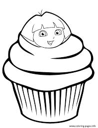 Dora The Explorer Cupcake Coloring Pages Print Download