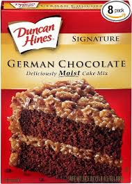 Duncan Hines Decadent Cake Mix German Chocolate 21 Ounce Pack of 8