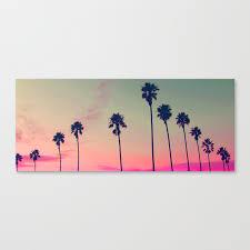 Pink Sunset, Palm Tree Silhouette Encinitas, California - Surfer Canvas  Print