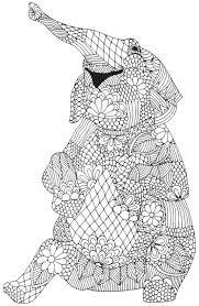 Happy Elephant From Awesome Animals Abstract Doodle Zentangle Coloring Pages Colouring Adult Detailed Advanced