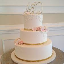 Classic Wedding Cake Design With Monogram Topper Gold Ribbon Sweet Memories Bakery NC