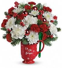 Stir Up Some Festive Fun With This Beautiful Holiday Bouquet Of Carnations Mums And Winter