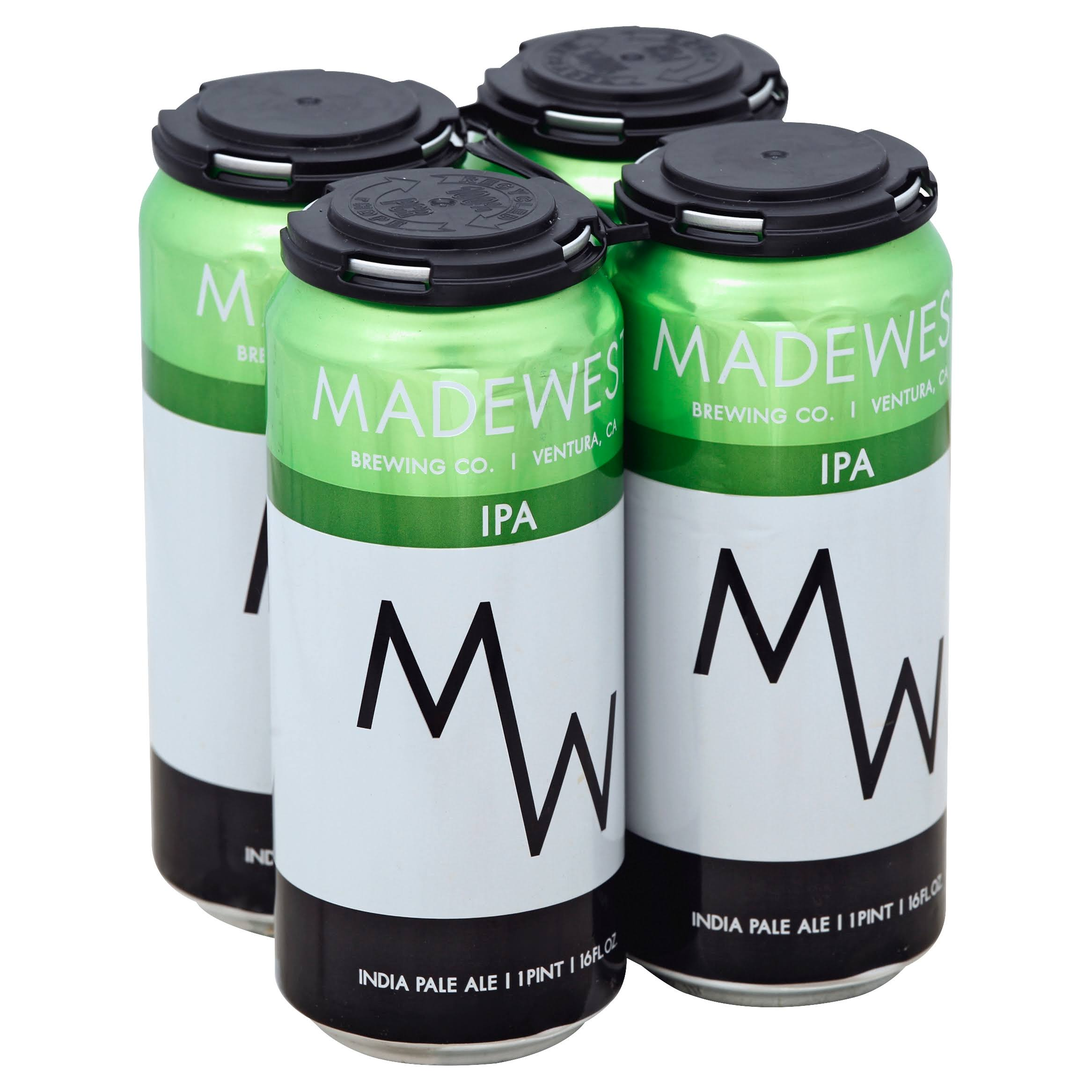 Madewest Beer, India Pale Ale - 4 pack, 16 fl oz cans