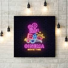 100 Bright Home Theater Neon Sign Poster Cinema Wall Art Canvas Painting