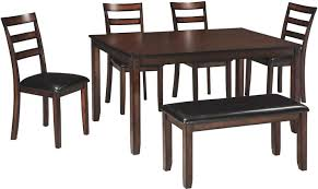 Ashley Furniture Signature Design - Coviar Dining Room Table And Chairs  With Bench (Set Of 6) - Brown Buy Round Kitchen Ding Room Sets Online At Overstock Amish Fniture Hand Crafted Solid Wood Pedestal Tables Starowislna 5421 54 Inch Country Table With Distressed Painted Pedestal Typical Measurements Hunker Caster Chair Company 7 Piece Set We5z9072 Wood Picture Decor 580 Tables World Interiors Austin Tx Clearance Center Dinettes And Collections Costco Saarinen Tulip Marble