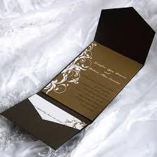 Classic Brown Pocket Wedding Invitations With Response Cards EWPI028