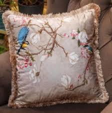 casa padrino luxus deko kissen vögel beige mehrfarbig 45 x 45 cm bedrucktes samt kissen mit fransen wohnzimmer deko accessoires