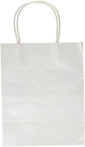 Darice 2607-42 1Piece, Paper Bag with Handles, White