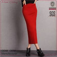 high quality knit stretchy red korean style high waisted long