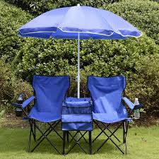 Portable Folding Picnic Double Chair W/umbrella Table Cooler Beach ...