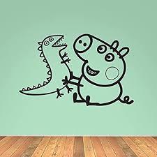 peppa pig george dinosaurier kinder kindergarten vinyl wand