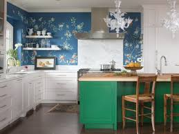Blue Floral Wall Mural With Green Kitchen Island And Pastel White Cabinet For Impressive Design