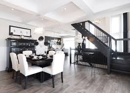 Classic Room With Black Accents And Wood Floor