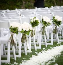 White Garden Chairs Wedding Classic With Wooden Floral