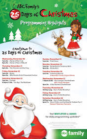 Abc Family 13 Nights Of Halloween Schedule by Abc Family U0027s Countdown To The 25 Days Of Christmas 2013