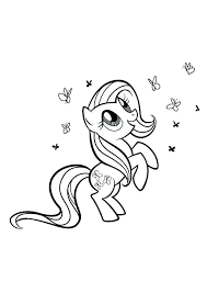 My Little Pony Coloring Pages Rarity Playing With So Many Butterfly In