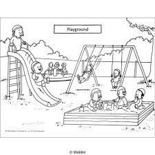 Children Playground Clipart Black And White Letters Throughout