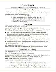 Sample Resume For An Insurance Sales Professional