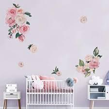decalmile wandtattoo blumen wandsticker pfingstrose wandaufkleber wohnzimmer schlafzimmer babyzimmer kinderzimmer romantisch wanddeko