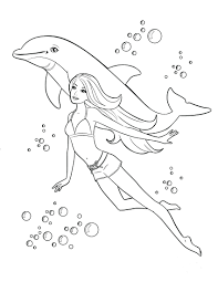 Barbie Mermaid Tale Printable Coloring Pages Merliah Free Swimming Dolphin Page For Kids Little Full