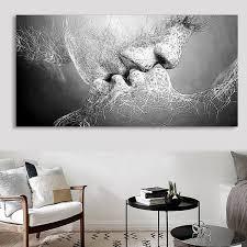 Tableau Peinture à Huile Toile Baiser Damour Noir Et Blanc