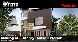 3 Storey House Colors Making Of 3 Storey House Exterior Sketchup 3d Rendering