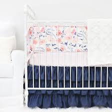 Navy And Coral Crib Bedding by Willow U0027s Blush U0026 Navy Floral Crib Bedding Caden Lane