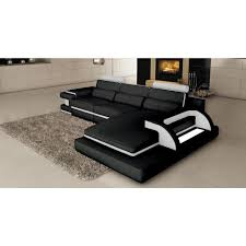 divan canapé canapé d angle cuir noir et blanc design avec lumière ranna angle
