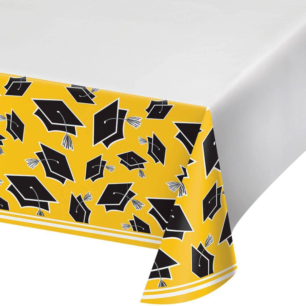 "Creative Converting Rectangle Plastic Tablecover - Congrats Grad, Yellow, 54"" x 102"""