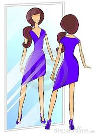 Woman Trying Dress Clipart