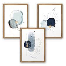 3 teiliges premium poster set kunstdruck abstrakt blau deko bild für ihre wand optional mit rahmen wohnzimmer schlafzimmer modern