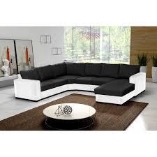 canapé d angle 6 places oara en u noir et blanc tissu et simili cuir