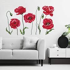 decalmile wandtattoo mohnblume blume rote wandsticker pflanzen wandaufkleber schlafzimmer wohnzimmer küche wanddeko