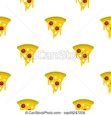 Tasty Slice Pizza With Melted Cheese Pattern Vector