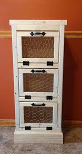 Vegetable Bin 3 Door Kitchen Pantry Organizer And Storage Handmade Wooden Potato Onion Rustic Country Bread Home Decor