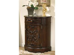 Traditional Dark Brown Norcastle Sofa Table by Signature Design By Ashley Norcastle Bombe With One Drawer And One