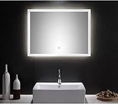 lomadox badezimmer led spiegel 80cm touch funktion und