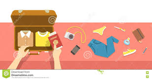 Packing Bag For Travel Vacation Flat Illustration