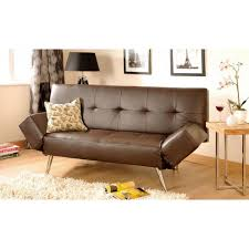 Modern 3Seat Faux Leather Sofa Bed Black Or Brown