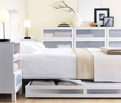 Divine Modern White Bedroom Decoration Ideas Using Rectangular Frosted Glass Dresser Including Ikea Furniture And Storage