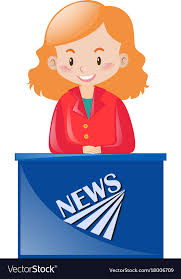 Female News Reporter At Desk Vector Image
