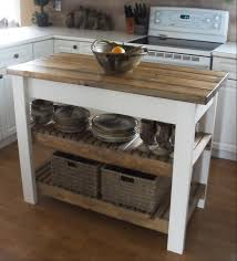 Two Tone Butcher Block Rustic Kitchen Island With Wooden Top Also White Base Leg And L Shaped Cabinetry Idea