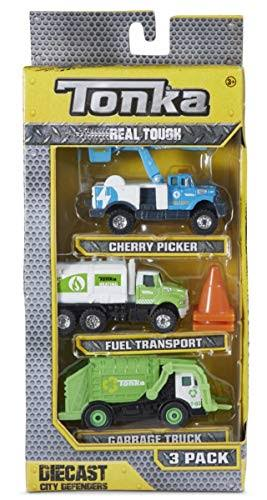 Funrise Tonka Real Tough Diecast City Defenders 3-Pack: Cherry Picker, Fuel Transport, Garbage Truck