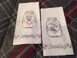 Stamped White Decorative Hand Towels Set Of 7 Mason Jars Days
