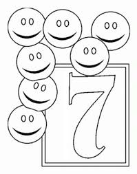 Learn Number 7 With Seven Smiley Faces Colouring Page Coloring