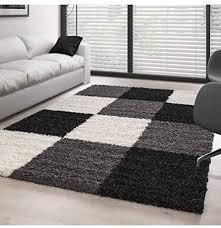 teppich hochflor langflor wohnzimmer günstig shaggy kariert schwarz weiss grau 60x110 cm